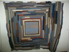 Antique Primitive African American String / Strip Offset Housetop Quilt
