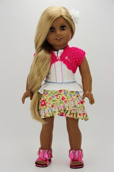 Handmade 18 inch doll clothes - Pink and yellow 5 piece criss cross skirt outfit (790)