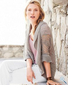 i like this but I need a different color...Crocheted Linen Cardigan/ Garnet Hill