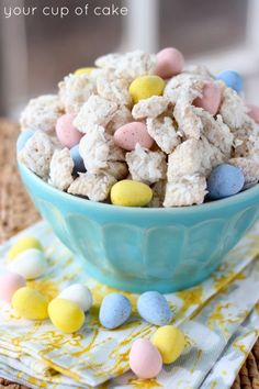 Bunny Chow for Easter - This recipe is tossed in coconut and perfect for Easter. Bunny Chow mixed with Mini Cadbury Eggs = yum!