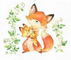 Woodland Creatures, Woodland Animals, Cute Animal Drawings, Cute Drawings, Watercolor Animals, Watercolor Paintings, Fox Drawing, Belly Painting, Cute Clipart