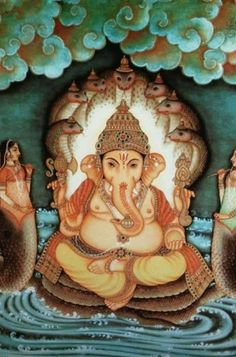 Ganesh, the Hindu Lord of beginnings and remover of obstacles Sri Ganesh, Ganesha Art, Lord Ganesha, Ganesha Painting, Tanjore Painting, Krishna Art, Lord Krishna, Om Namah Shivaya, Om Gam Ganapataye Namaha