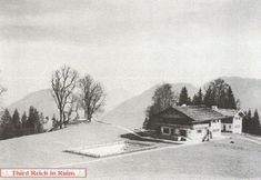 Göring's house from the adjacent hill, the highest point on the Obersalzberg. This photo shows Göring's swimming pool.