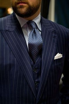 Pinstriped suite for marc but use a solid tie