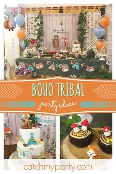 Take a look at this wonderful boho tribal woodland birthday party! The wood. - Featured Parties from Catch My Party - Birthday Rustic Birthday Parties, Boys 1st Birthday Party Ideas, Wild One Birthday Party, 1st Boy Birthday, First Birthday Parties, First Birthdays, Party Food Themes, Colorful Party, Woodland Party