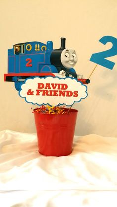 PRINTABLE DIY Thomas the Train Party Centerpiece, personalized front and back included, by PartiesByTristan, $5.00