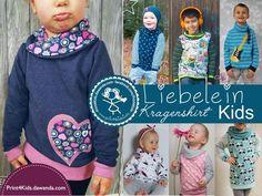 Cowl neck kids sweatshirt pattern. Nähanleitungen Mode - E-Book - Liebelein - Kragenshirt Kids Gr. 80 - 134 - ein Designerstück von Print4Kids bei DaWanda