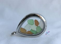 Sea Glass Locket Pendant/chain by IDreaminColourDoYou on Etsy Sea Glass, Gemstone Rings, Chain, Trending Outfits, Unique Jewelry, Pendant, Handmade Gifts, Etsy, Color