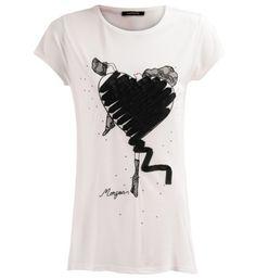 MorganTee-shirt coeur orné de tulle Noir