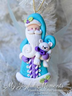 Blue Santa Clay Christmas Tree Ornament