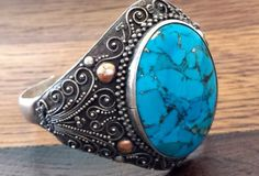 Navajo Sterling Silver Cuff Bracelet with Large Turquoise Stone-looks more like a ring
