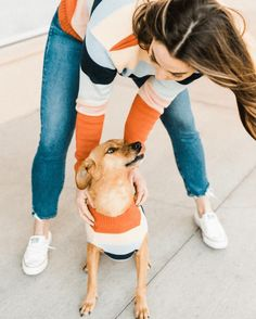 Matching striped sweaters for you and your pup. #dogclothes #retro Twin Outfits, Matching Family Outfits, Dog Hoodie, Dog Shirt, Matching Sweaters, Striped Sweaters, Hipster Dog, Cute Dog Clothes, Dog Birthday