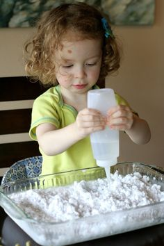 Frozen Sensory Snow - Easy, cheap (cost around one dollar!), and the icy cold lasted for TWO hours while we played! Perfect for keeping coo...
