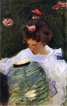 Japonisme. Paintings of Beautiful Women. John Singer Sargent. Dorothy Barnard. By Lantern Light