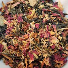 Floral Green Loose Leaf Tea Blend-Organic Dao Ren by CamilleLaLune-Fields of Splendour #OrganicGreenTea #LooseLeafTea #FloralTea #RedRosePetals #RomanticTea #FolkMedicinalTea