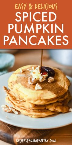 This Pumpkin Pancakes Recipe is full of amazing fall flavor! Easy to make with a handful of affordable everyday pantry ingredients, these pumpkin spice pancakes are just the thing for easy weekday breakfasts, lazy Sunday brunches, and my personal favorite - breakfast for dinner! You can even whip up a batch ahead of time when tackling your weekly meal prep. Click through to get this awesome pumpkin pancakes recipe!! #pancakes #pumpkinpancakes #easybreakfastrecipes #fallrecipes #pumpkinspice Easy Holiday Recipes, Best Dessert Recipes, Sweets Recipes, Easy Desserts, Delicious Desserts, Breakfast Recipes, Snack Recipes, Kid Recipes, Breakfast Ideas