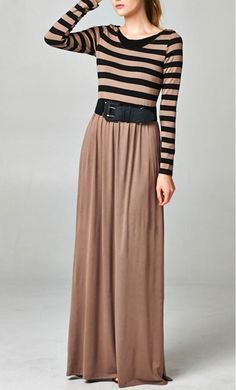 Modest Clothing - Women's Color Block Maxi Dress with Belt