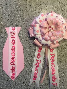 Pink Princess Baby Shower Mommy and Daddy Corsage and Tie Set #TreasureFox #BabyShower