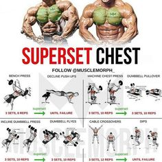 Want a BIGGER Chest? Try this workout. This superset combines another form of supersetting for back and chest to help you increase the fat-burning effect of the workout. WHAT'S A SUPERSET A Superset is when you do two exercises back to back with no res Weight Training Workouts, Gym Workout Tips, Fitness Workouts, At Home Workouts, Back Superset Workout, Super Set Workouts, Week Workout, Hockey Workouts, Traps Workout