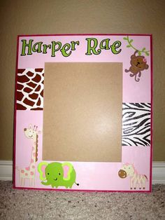 baby girl jungle nursery:  I started with a plain wood frame, then added paint and Cricut die cuts to match the nursery decor.
