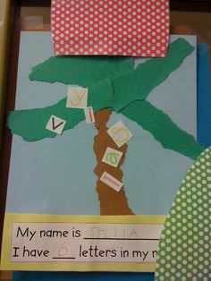 Chika chika boom boom tree activity with name.I'm so doing this the first week of school! Name Crafts, Letter A Crafts, Book Crafts, Preschool Classroom, Classroom Themes, Preschool Crafts, Preschool Ideas, Preschool Alphabet, Preschool Writing