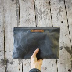Large Waxed Canvas Pouch Slate by Peg and Awl by PegandAwl on Etsy, $48.00