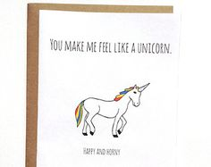 funny sexy silly love card for boyfriend girlfriend, card for husband wife, you make me feel like a unicorn happy and horny