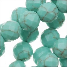 GREEN TURQUOISE FACETED ROUND GEMSTONE BEADS 6MM 155 INCH STRAND from beadaholique.com
