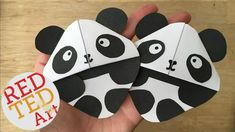 Panda Bookmarks - these corner bookmarks are sooo cute and easy to make than you think. All you need is some white and black paper...