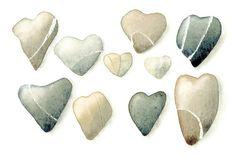 Heart Pebbles Original watercolor OOAK painting grey brown beige  (already matted). €35.00, via Etsy.
