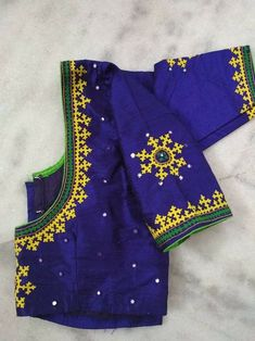 Discover recipes, home ideas, style inspiration and other ideas to try. Blouse Designs High Neck, Hand Work Blouse Design, Simple Blouse Designs, Fancy Blouse Designs, Bridal Blouse Designs, Blouse Designs Catalogue, Kutch Work Designs, Beautiful Dress Designs, Kurti Embroidery Design