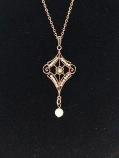 Antique Victorian Diamond & Pearl Lavalier Pendant