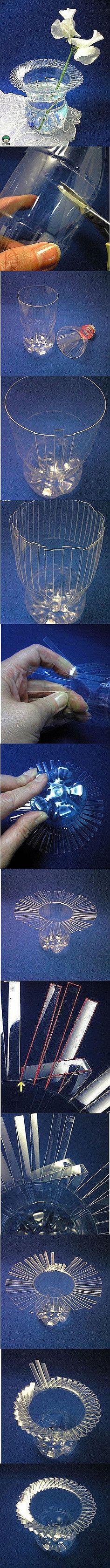 Transformation of mineral water bottle vase