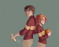 Harry Potter and Ginny Weasley Hinny Harry James Potter, Fanart Harry Potter, Mundo Harry Potter, Harry Potter Artwork, Harry Potter Drawings, Harry Potter Ships, Harry Potter Wallpaper, Harry Potter Pictures, Harry Potter Universal