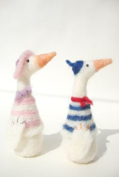 Monsieur Goose  wool felt miniature soft sculpture от madamecraig