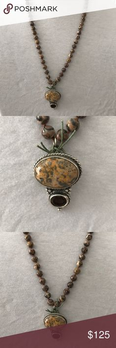 "Artist made beaded funky pendant necklace A really cool artsy look. Knotted beads with a sterling pendant. Not sure what any of the stones are. Beautifully made. 24"" long. Pendant is 1.5"" and attached with linen cording. Jewelry Necklaces"
