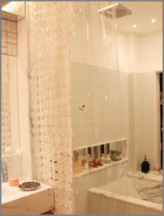 A crochet curtain for your bathroom tub??? why not??  with diagram!!!