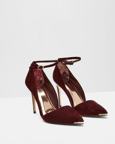 Ankle strap heeled courts - Oxblood | Footwear | Ted Baker UK