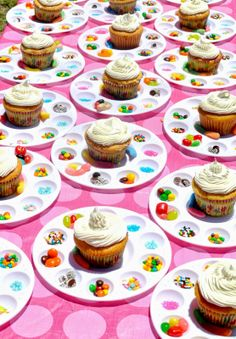 Decorate your own cupcake! Paint trays, sprinkles, and candy make birthday parties so much fun! The kids LOVED it! Lots of fun!