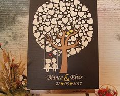 JubileeTree -Wedding Guestbook new alternative Personalized guest book tree of life with wood hearts Unique gift ideea guest book Sign in Guest Book Tree, Guest Book Sign, 3d Tree, Wedding Guest Book Alternatives, Unique Gifts, Handmade Gifts, Guestbook, Writing Instruments, Wedding Book