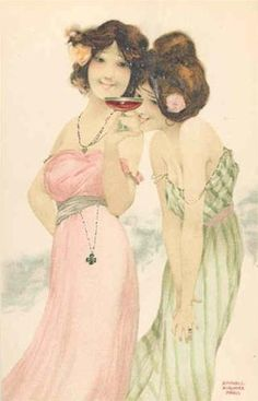 Girls with good luck charms - Raphael Kirchner