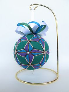 Christmas Ornament Purple and Turquoise 4 by OrnamentDesigns