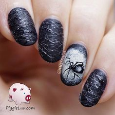 62 Photo Design of nails with a picture of spiders for Halloween 2018