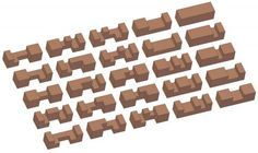Standard six-piece burr puzzles - Types of rods