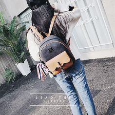 Leisure Contrast Color Frosted Girl's Bag Retro Tassel Splicing College Backpacks
