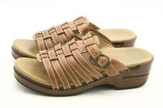 Dansko MARION womens sandals size 8.5 - 9 leather slides slip on peep toe EU 39 #Dansko #Slides  @ebay