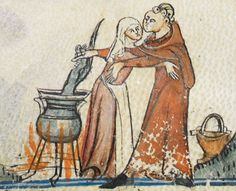 """DOCUMENTATION FOR KISSING THE COOK - - Per the description on the British Library's websites, these illustrations (from the Smithfield Decretals, c. 1300-1340) show """"a clerk with holy water vessel [who] kisses the cook and robs the pot."""""""