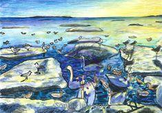 En tavla jag målade utifrån ett foto som togs på en starnd i ett samhälle som heter Åsa på västkusten, där jag gick på folkhögskola. Fågelliv är 40x28 cm, målat med akvarell/vaxkritor och kostar : 2000 kr Painting, Painting Art, Paintings, Painted Canvas, Drawings