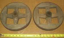 PAIR Vintage Antique Wood Wagon Wheels iron Band Spoke Tire Primitive Rustic art