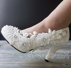Lace white ivory crystal Wedding shoes Bridal flats low high heel pump size 5-12 | Clothing, Shoes & Accessories, Wedding & Formal Occasion, Bridal Shoes | eBay!